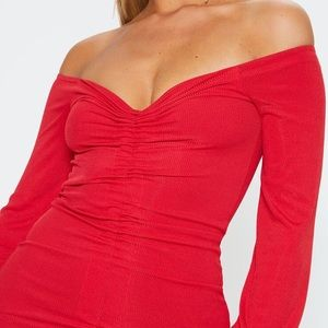 Red Ruched Front Bardot Bodycon Dress